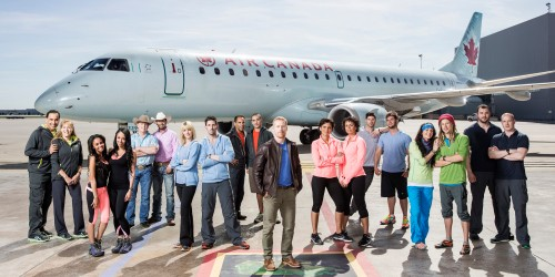 The teams competing in Season 2 of The Amazing Race Canada with host Jon Montgomery.